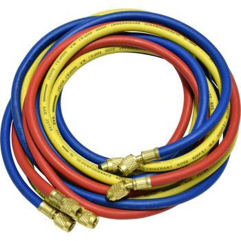 "one red, blue, and yellow 96"" hose with standard fittings for R12"