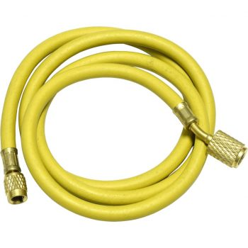 "yellow 60"" hose with auto shut-off valve fittings for R12"