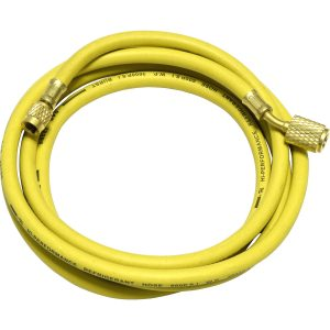 "yellow 96"" hose with auto shut-off valve fittings for R12"