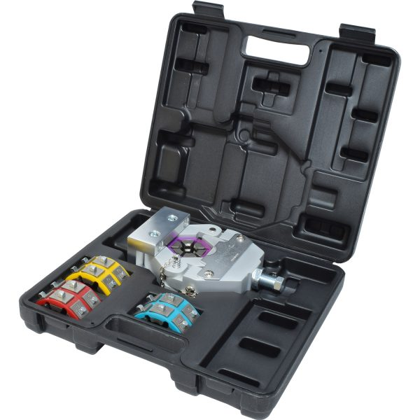 """Manual A/C Hose Crimper KitFeatures:* Dies snap quickly into place requiring no pins or screws* Unit can be easily mounted to a bench using the holding fixture (included) or a viceIncludes:    * TO 71551 - Yoke Assembly    * TO 71552 - Arbor Assembly    * TO 71553 - Holding Fixture Assembly    * TO 71502 - #6(5/16"""") Die Set    * TO 71503 - #8(13/32"""") Die Set    * TO 71504 - #10(1/2"""") Die Set    * TO 71505 - #12(5/8"""") Die Set    * TO 71559 - Molded Case    * Optional reduced barrier die sets are available"""