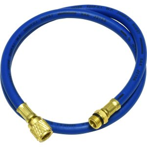 "blue 36"" hose with male 14mm x 1.5 and 1/2"" Acme-Fittings for R-134a"