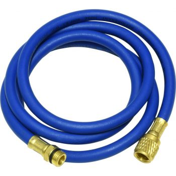"blue 60"" hose with male 14mm x 1.5 and 1/2"" Acme-Fittings for R-134a"