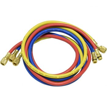 "one red, blue, and yellow 60"" hose for R-134a"