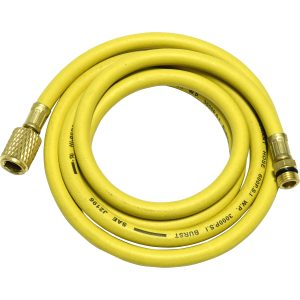"yellow 72"" hose with shut-off valve 1/2"" Acme-Fitting for R-134a"