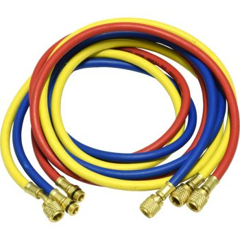 "one red, blue, and yellow 72"" hose for R-134a"