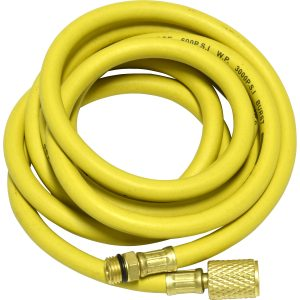 "yellow 96"" hose with shut-off valve 1/2"" Acme-Fitting for R-134a"
