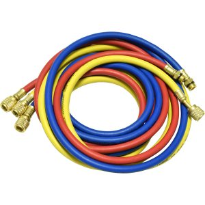 "one red, blue, and yellow 96"" hose for R-134a"